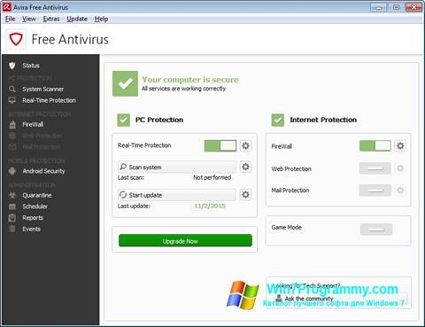 Скриншот программы Avira Free Antivirus для Windows 7