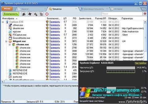 Скриншот программы System Explorer для Windows 7