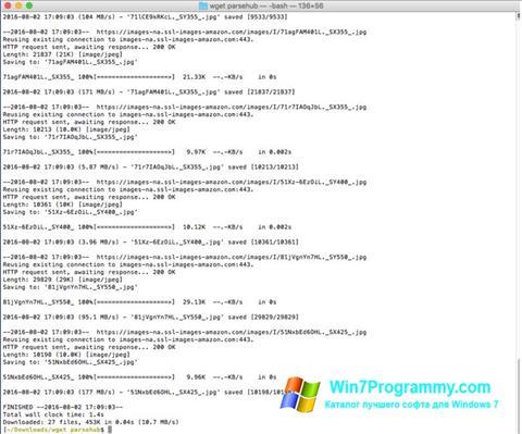 Скриншот программы Wget для Windows 7