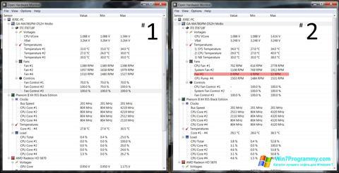 Скриншот программы Open Hardware Monitor для Windows 7