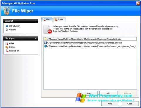 Скриншот программы Free File Wiper для Windows 7