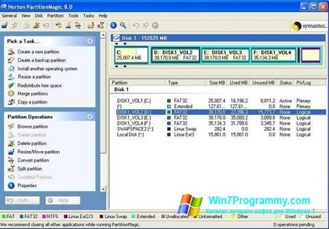 Скриншот программы Partition Magic для Windows 7