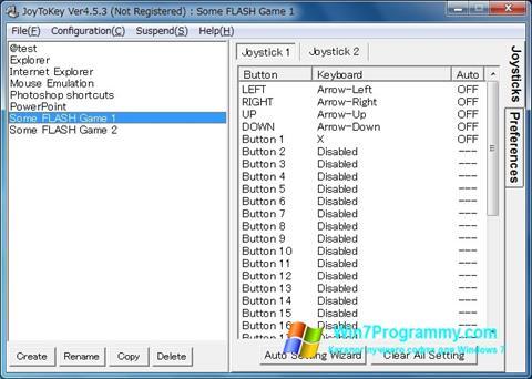 Скриншот программы JoyToKey для Windows 7