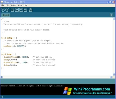 Скриншот программы Arduino для Windows 7