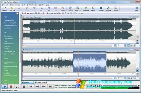Скриншот программы WavePad Sound Editor для Windows 7