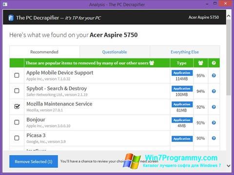 Скриншот программы PC Decrapifier для Windows 7