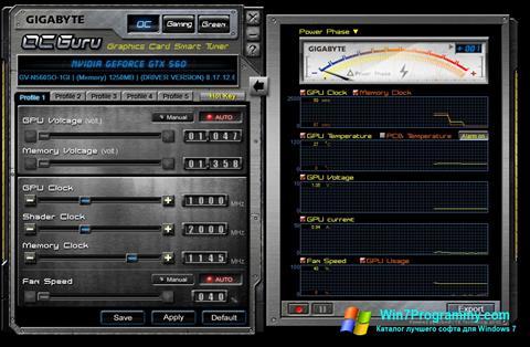 Скриншот программы GIGABYTE OC Guru для Windows 7