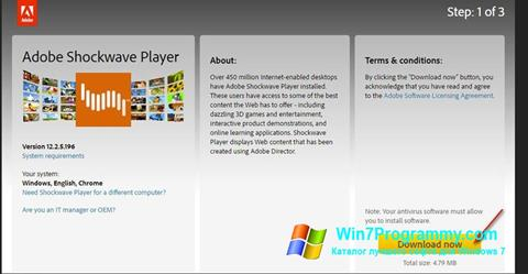 Скриншот программы Adobe Shockwave Player для Windows 7