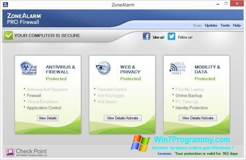 Скриншот программы ZoneAlarm Pro для Windows 7