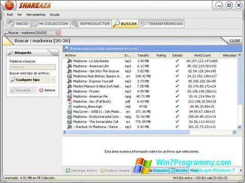 Скриншот программы Shareaza для Windows 7