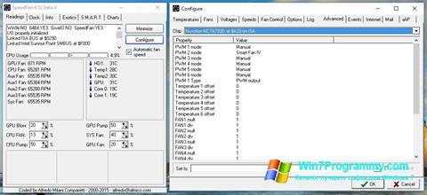 Скриншот программы SpeedFan для Windows 7