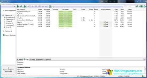 Скриншот программы uTorrent для Windows 7
