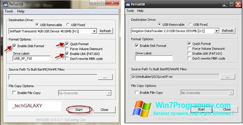 Скриншот программы PeToUSB для Windows 7