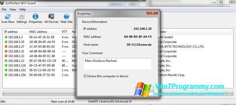 Скриншот программы SoftPerfect WiFi Guard для Windows 7