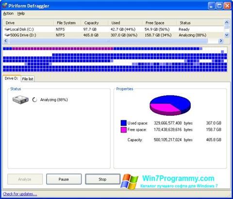 Скриншот программы Defraggler для Windows 7