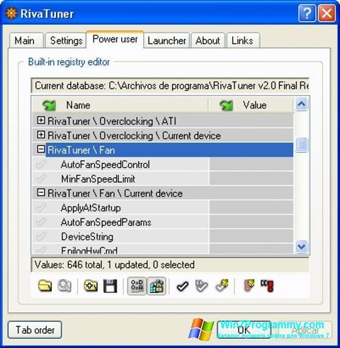 Скриншот программы RivaTuner для Windows 7