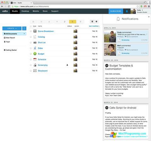 Скриншот программы Celtx для Windows 7