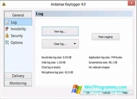 Скриншот программы Ardamax Keylogger для Windows 7