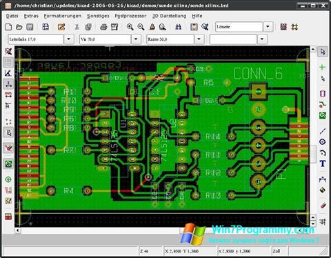 Скриншот программы KiCad для Windows 7
