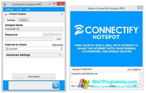 Скриншот программы Connectify для Windows 7
