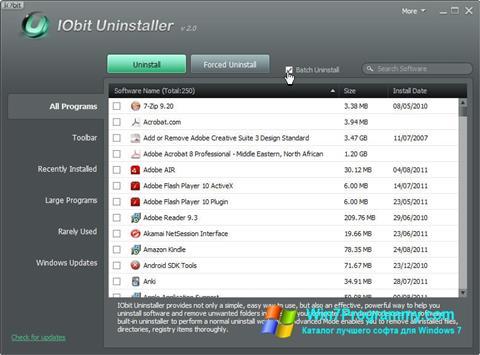 Скриншот программы IObit Uninstaller для Windows 7