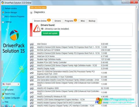 Скриншот программы DriverPack Solution для Windows 7