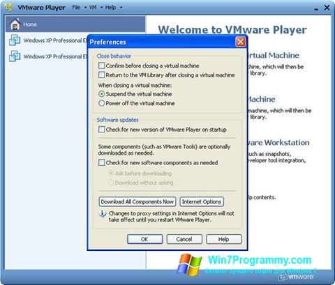 Скриншот программы VMware Player для Windows 7