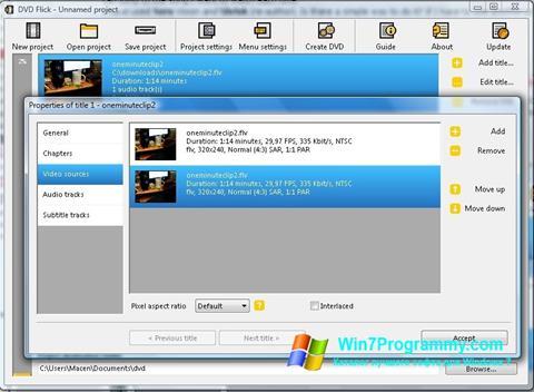 Скриншот программы DVD Flick для Windows 7