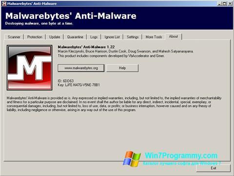 Скриншот программы Malwarebytes Anti-Malware Free для Windows 7
