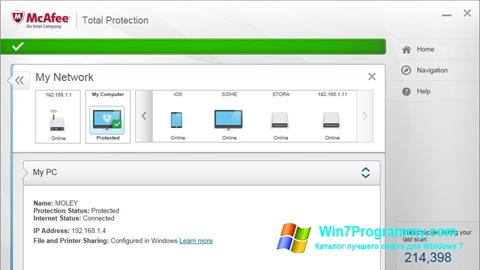 Скриншот программы McAfee Total Protection для Windows 7