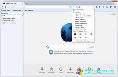 Скриншот программы Waterfox для Windows 7