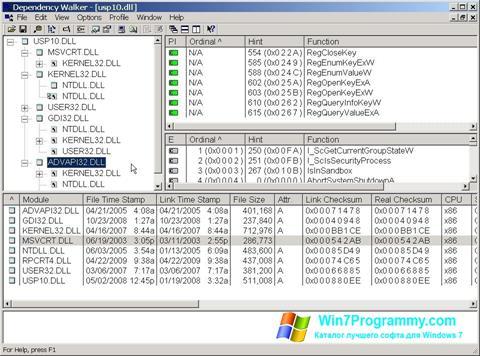 Скриншот программы Dependency Walker для Windows 7