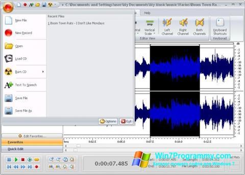 Скриншот программы Free Audio Editor для Windows 7
