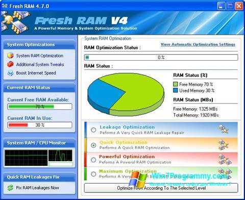 Скриншот программы Fresh RAM для Windows 7