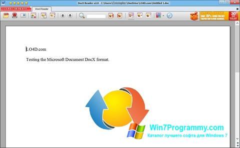 Скриншот программы DocX Reader для Windows 7