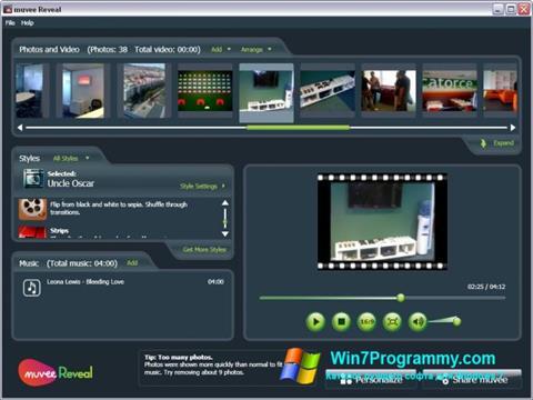Скриншот программы muvee Reveal для Windows 7