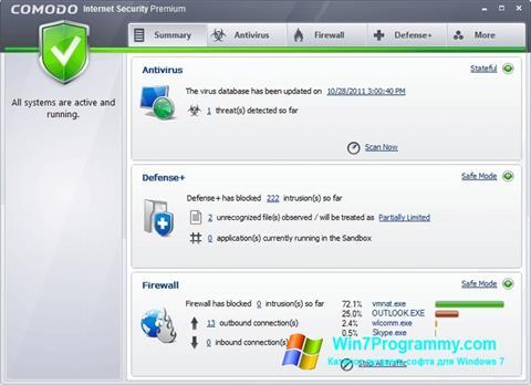 Скриншот программы Comodo Internet Security для Windows 7