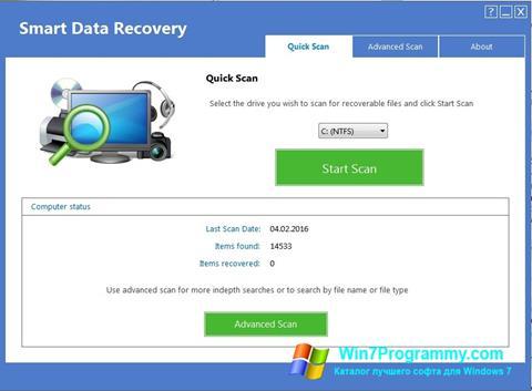 Скриншот программы Smart Data Recovery для Windows 7