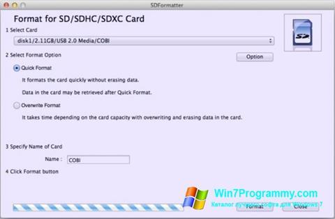 Скриншот программы SDFormatter для Windows 7