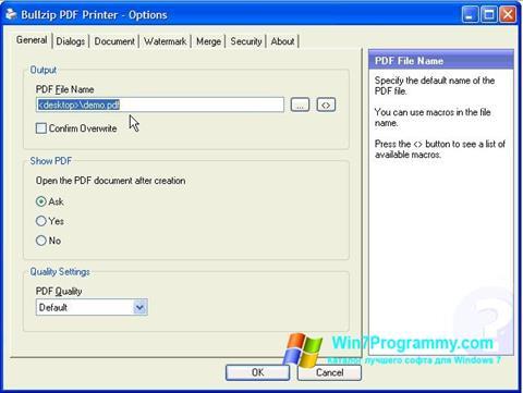 Скриншот программы BullZip PDF Printer для Windows 7