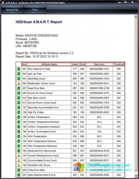Скриншот программы HDDScan для Windows 7
