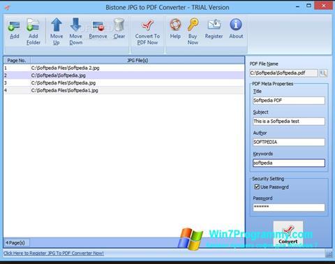 Скриншот программы Image To PDF Converter для Windows 7