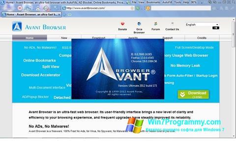 Скриншот программы Avant Browser для Windows 7