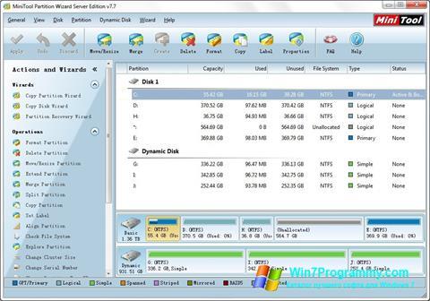 Скриншот программы MiniTool Partition Wizard для Windows 7