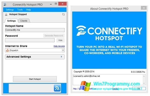 Скриншот программы Connectify Hotspot для Windows 7
