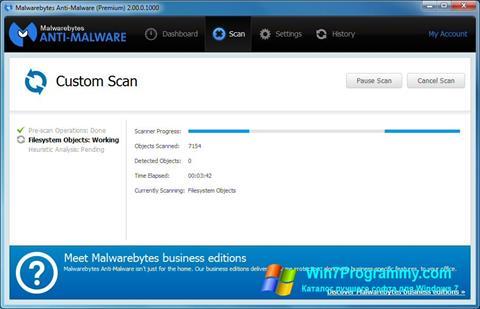 Скриншот программы Malwarebytes Anti-Malware для Windows 7