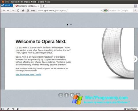 Скриншот программы Opera Next для Windows 7