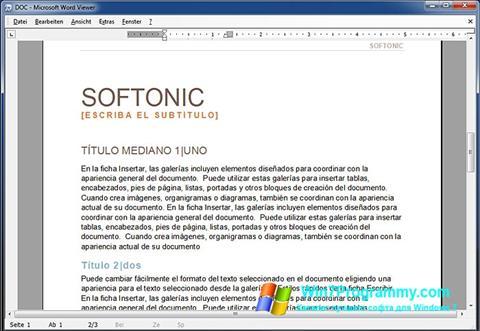 Скриншот программы Word Viewer для Windows 7