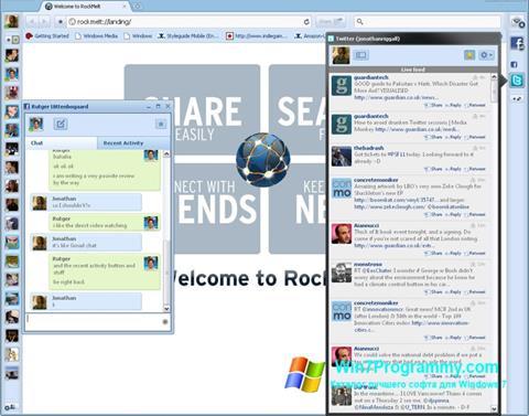 Скриншот программы RockMelt для Windows 7