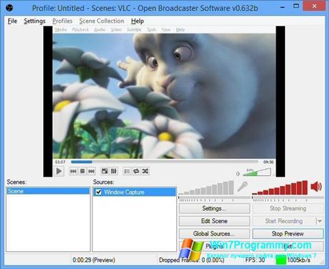Скриншот программы Open Broadcaster Software для Windows 7